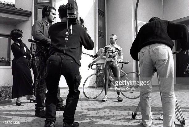 Italian cyclist Marco Pantani, Tour de France and Giro d'Italia race winner in 1998, attends a TV interview at his family house on November 8, 1998...