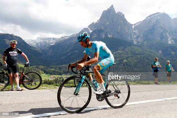 Italian cyclist Michele Scarponi of Astana Pro Team competes during the 15th stage of the 99th Giro d'Italia Tour of Italy an uphill individual time...