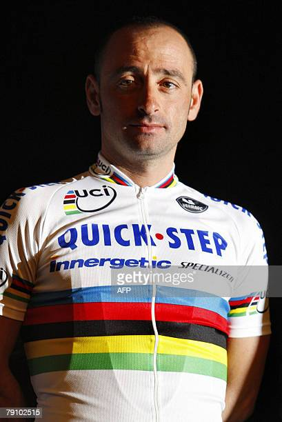 Italian cyclist Worldchampion Paolo Bettini poses during the presentation of the cycling team QuickstepInnergetic 18 January 2008 in Kortrijk Belgium...