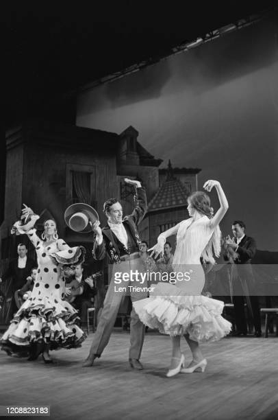 Italian dancer and choreographer Jose Greco and two female dancers on stage during a performance at the Royal Festival Hall in London England 23rd...