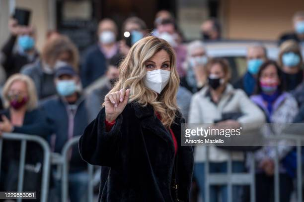Italian dancer Lorella Cuccarini attends the funeral mass of Stefano D'Orazio, singer and drummer of the musical group POOH at Piazza del Popolo, on...