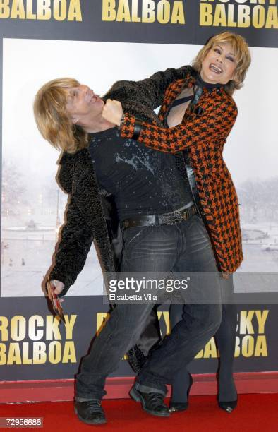 Italian dancers Enzo Paolo Turchi and Carmen Russo attend the 'Rocky Balboa' premiere at the Auditorium Conciliazione on January 9 2007 in Rome Italy