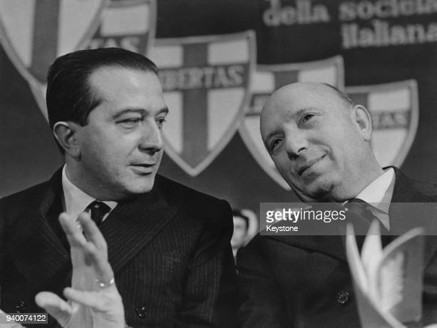 Italian Defence Minister Giulio Andreotti and Mario Scelba the Italian Minister of the Interior at a meeting of the Christian Democratic Party in...
