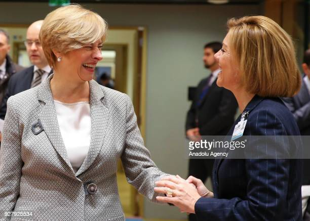 Italian Defence Minister Roberta Pinotti and Spanish Defence Minister Maria Dolores de Cospedal Garcia attend EU Defense ministers meeting in...