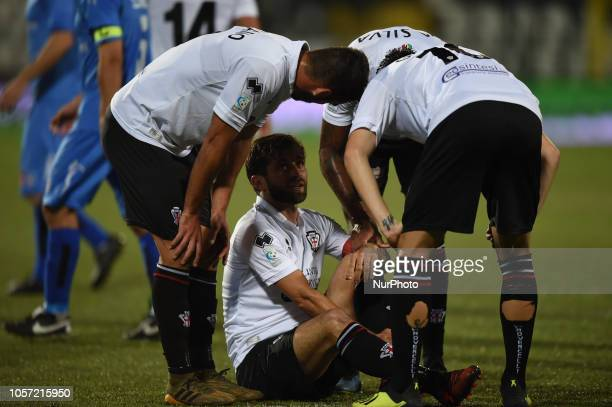 Italian defender Carlo Mammarella from Pro Vercelli team playing during Saturday evening's match against Novara Calcio valid for the 10th day of the...