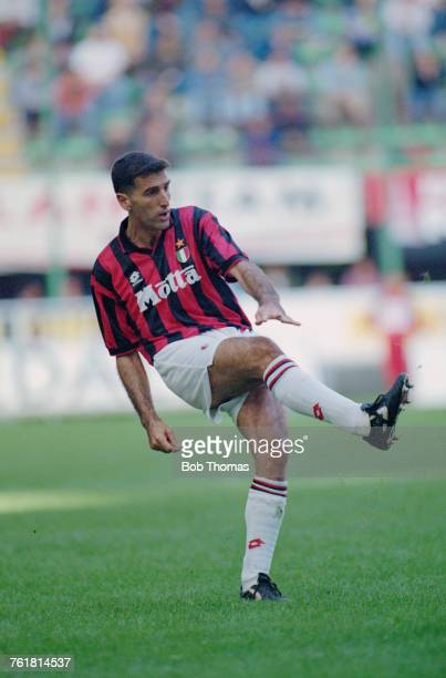 Italian defender Mauro Tassotti in action for AC Milan circa 1994