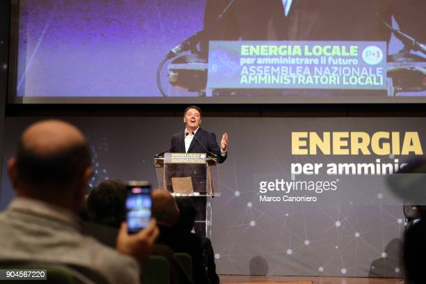 Italian Democratic Party leader Matteo Renzi speaks during the meeting Energia Locale per amministrare il futuro .
