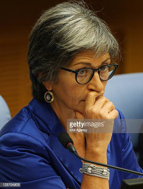 Italian Democratic Party member and senator Anna Finocchiaro attends a party meeting on September 19 2011 in Rome Italy Italian Democratic Party held...