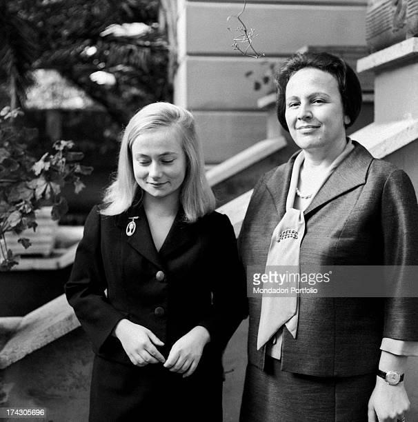 Italian deputy Nilde Iotti and her adopted daughter Marisa Malagoli Togliatti posing smiling. Rome, 1964.