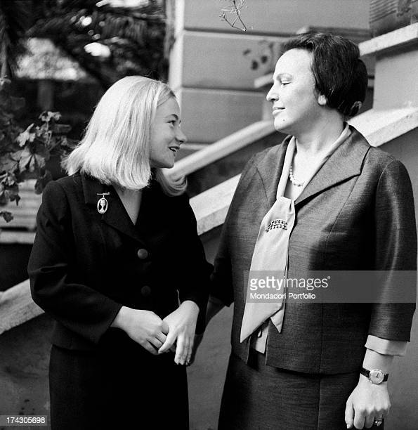 Italian deputy Nilde Iotti and her adopted daughter Marisa Malagoli Togliatti looking into each other eyes and smiling. Rome, 1964.