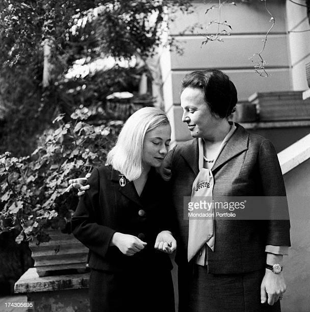 Italian deputy Nilde Iotti looking at her adopted daughter Marisa Malagoli Togliatti Rome 1964