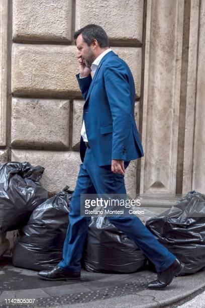Italian Deputy Premier and Interior Minister Matteo Salvini walk near waste in via Condotti, a high-class shopping district near Piazza di Spagna on...