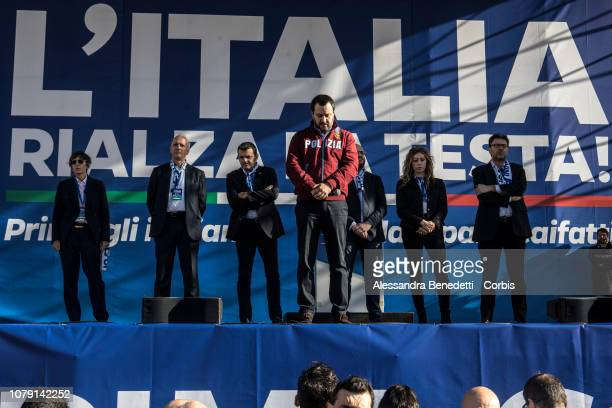 Italian Deputy Prime Minister and Interior Minister Matteo Salvini attends a rally against European Officials at Piazza del Popolo on December 08...