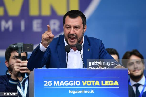 Italian Deputy Prime Minister and Interior Minister Matteo Salvini delivers a speech during a rally of European nationalists ahead of European...