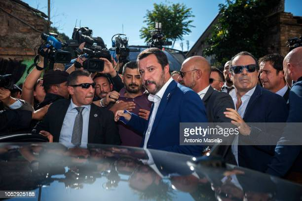 Italian deputy Prime Minister and Interior Minister Matteo Salvini speaks to the media during his visit in the San Lorenzo district on October 24...