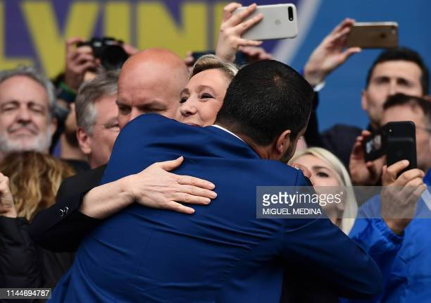 Italian Deputy Prime Minister and Interior Minister Matteo Salvini and President of the French farright Rassemblement National party Marine Le Pen...