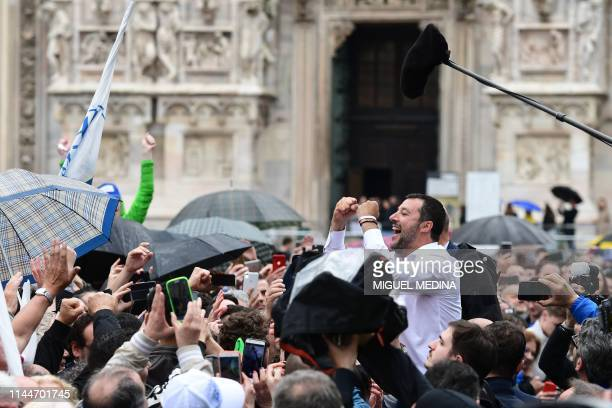 Italian Deputy Prime Minister and Interior Minister Matteo Salvini greets supporters during a rally of European nationalists ahead of European...