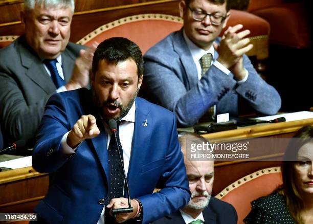 Italian Deputy Prime Minister and leader of the far-right League party Matteo Salvini gestures while speaking at the upper house, as senators hold a...