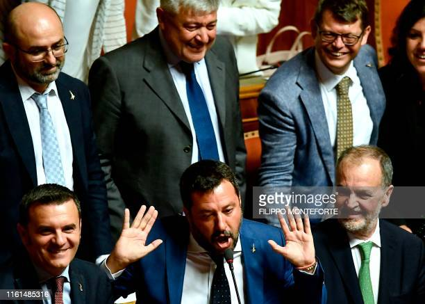 Italian Deputy Prime Minister and leader of the League party Matteo Salvini gestures as he delivers a speech at the upper house, during a debate on a...