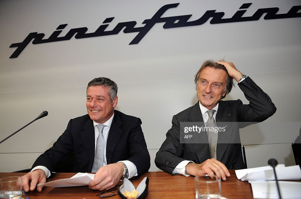 Italian design studio head and Pininfarina President Paolo Pininfarina (L) and Ferrari President Luca Cordero di Montezemolo pose before a conference as part of the 80th anniversary of the Pininfarina Italian car maker group in Cambiano near Turin on May 21, 2010.