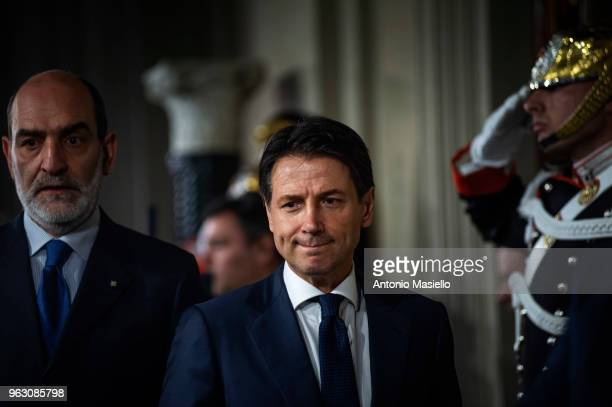 Italian designated Prime Minister Giuseppe Conte talks to the press after having returned the mandate to form a new government to President Sergio...