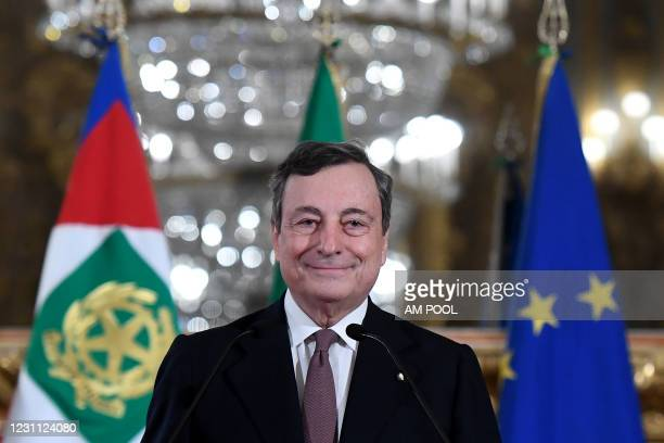 Italian Designated Prime Minister Mario Draghi speaks to media to announce the list of Ministers forming the new Italian Government, following a...