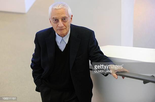 Italian designer Alessandro Mendini poses during a press preview of the exhibition Oggetti e Progetti Alessi storia e futuro di una fabbrica del...