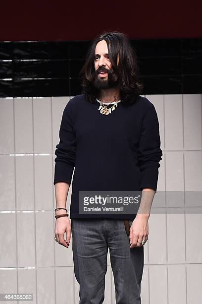 Italian Designer Alessandro Michele acknowledges the applause of the audience after the Gucci show during the Milan Fashion Week Autumn/Winter 2015...