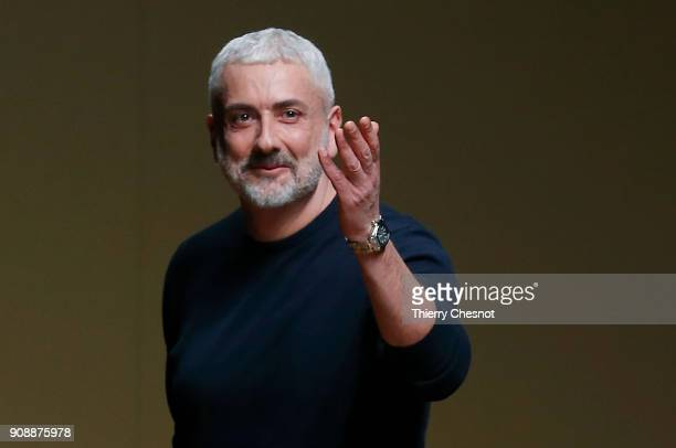 Italian designer Antonio Grimaldi acknowledges the audience at the end of the Antonio Grimaldi Spring Summer 2018 show as part of Paris Fashion Week...