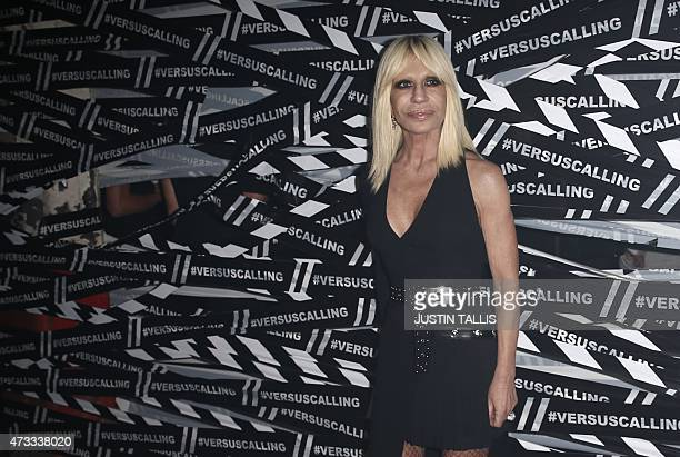 Italian designer Donatella Versace arrives for the launch party of Versace's diffusion label at the Old Truman Brewery in London on May 14 2015 AFP...