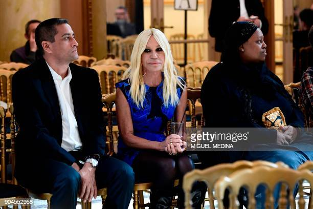 Italian designer Donatella Versace attends the rehearsal of her show during the Men's Fall/Winter 2019 fashion shows in Milan on January 13 2018 /...