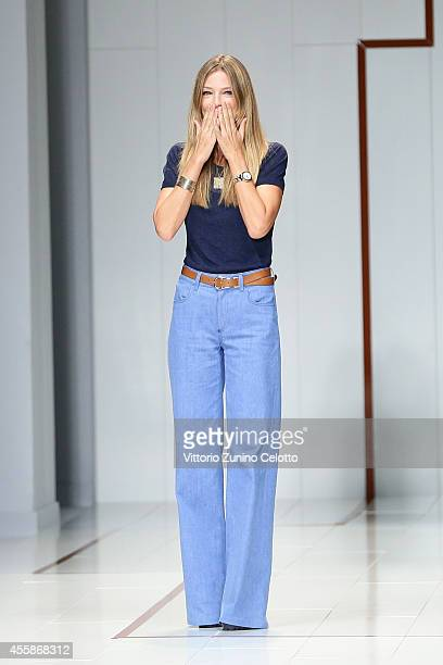 Italian designer Gaia Trussardi acknowledges the audience at the end of the Trussardi show as a part of Milan Fashion Week Womenswear Spring/Summer...
