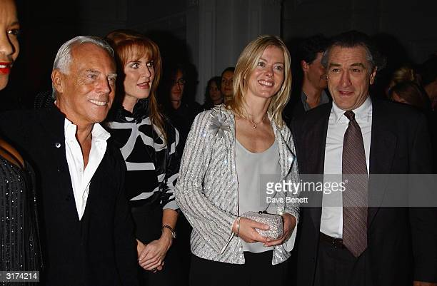 Italian designer Giorgio Armani American actor Robert De Niro and British socialites Sarah Feguson and Lady Helen Windsor attend the cocktail party...
