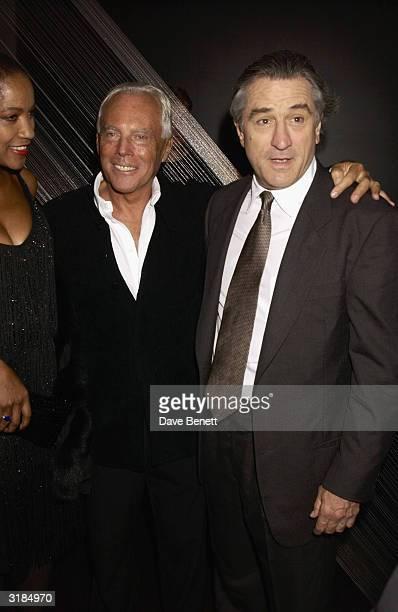Italian designer Giorgio Armani and American actor Robert De Niro attend the cocktail party to celebrate Giorgio Armani Retrospective at the Royal...