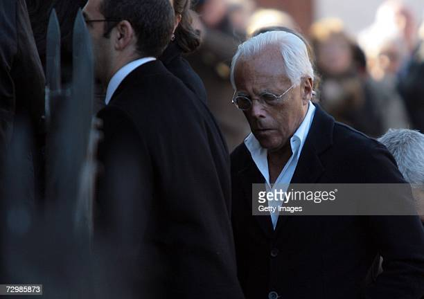 Italian designer Giorgio Armani arrives at the funeral of former Italian director Carlo Ponti at San Martin church on January 12 2007 in Magenta...