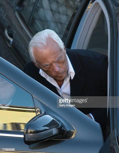 Italian designer Giorgio Armani leaves the funeral of former Italian director Carlo Ponti at San Martin church on January 12 2007 in Magenta Italy...
