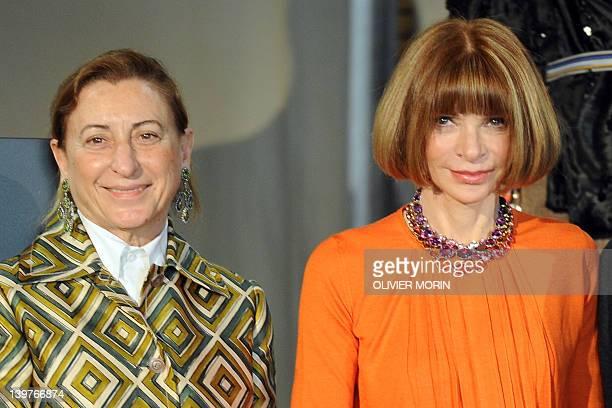 Italian designer Miuccia Prada poses with US Vogue editor-in-chief Anna Wintour during a press conference announcing the 'Schiaparelli and Prada:...