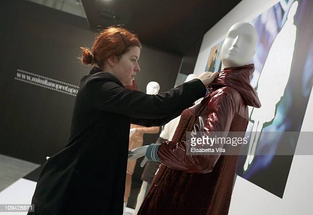 Italian designer Veronica Panati works on her creations during the Mi Milano PretAPorter Fashion Trade Show on February 25 2011 in Milan Italy