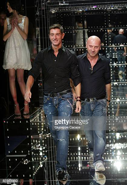 Italian designers Domenico Dolce and Stefano Gabbana acknowledge the applause at the Dolce & Gabbana fashion show as part of Milan Fashion Week...
