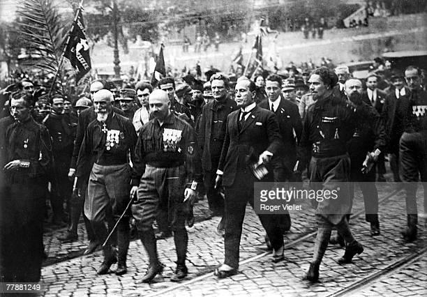 Italian dictator Benito Mussolini general and Fascist politician Emilio de Bono and aviator and politician Count Italo Balbo leading the blackshirts...