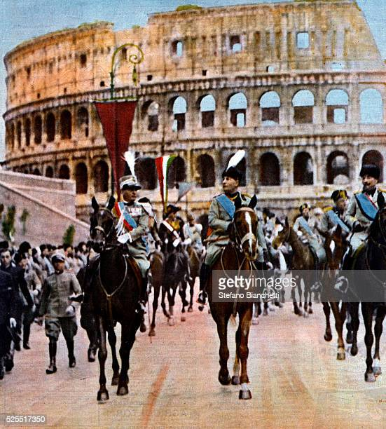 Italian dictator Benito Mussolini rides at the head of the thirteen legions during a parade to inaugurate the Via Dei Fori Imeriali.