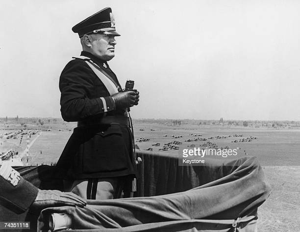 Italian dictator Benito Mussolini surveys the new Caselle Airport during a visit to Turin 16th May 1939