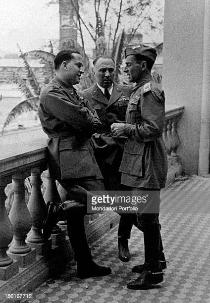 Italian diplomat and politician Galeazzo Ciano talking with Italian serviceman and secretary of National Fascist Party Achille Starace Italian...