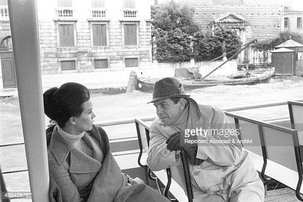 Italian director and actor Enrico Maria Salerno and Brazilian actress Florinda Bolkan moving by vaporetto while shooting the film The Anonymous...