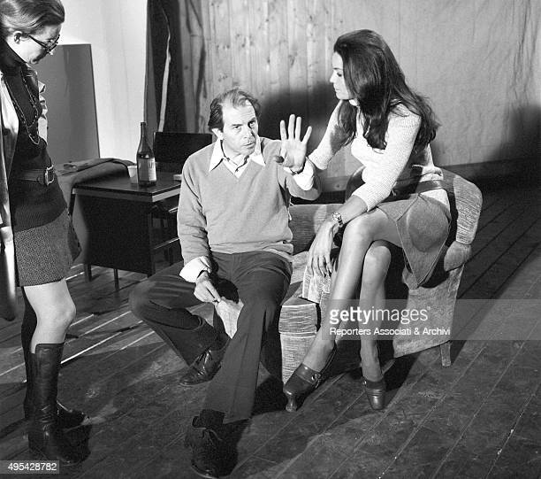 Italian director and actor Enrico Maria Salerno illustrating a scene to Brazilian actress Florinda Bolkan on the set of the film The Anonymous...