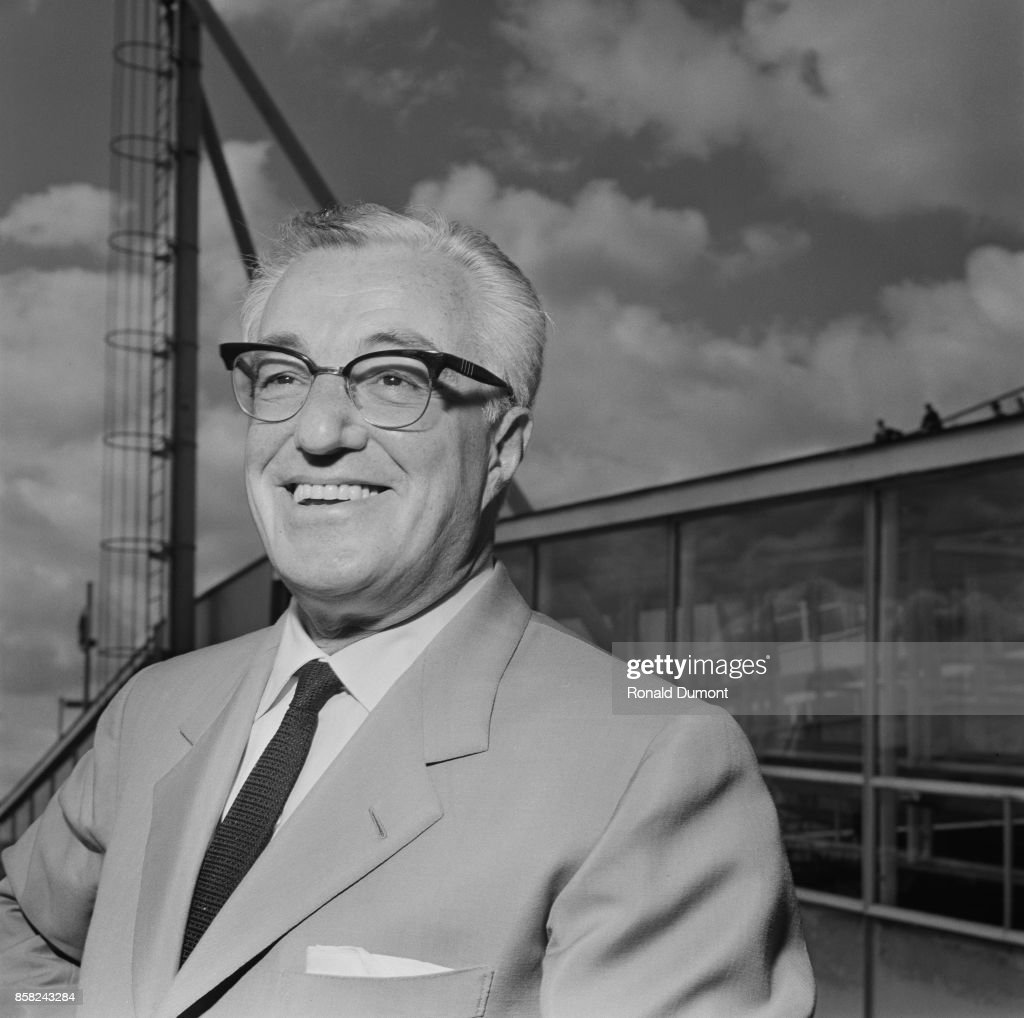Italian director and actor Vittorio De Sica arrives at Heathrow Airport, London, UK, 10th September 1964.