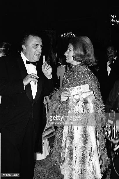 Italian director and screenwriter Federico Fellini with Romilda Villani mother of actress Sophia Loren
