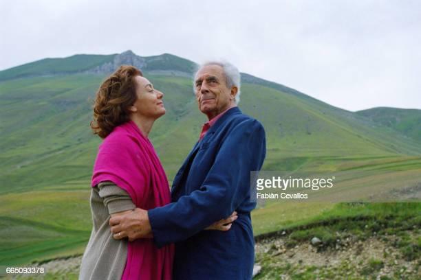 Italian director and screenwriter Michelangelo Antonioni with wife Enrica in Castelluccio