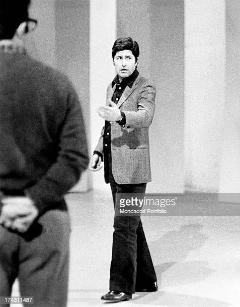 Italian director Antonello Falqui directing the rehearsals of the TV variey show Teatro 10. Rome, 1971.