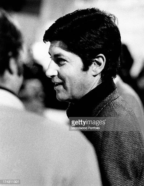 Italian director Antonello Falqui smiling during the rehearsals of the TV variety show Teatro 10. Rome, 1971.